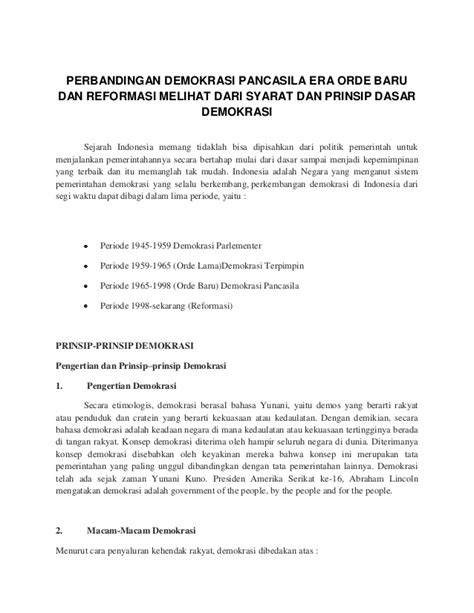 Sejarah Indonesia Dari Proklamasi Sai Orde Reformasi perbandingan demokrasi pancasila era orde baru dan reformasi melihat