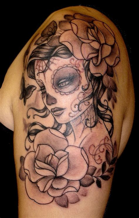 shoulder piece tattoo designs gorgeous sugar skull shoulder ideas iv