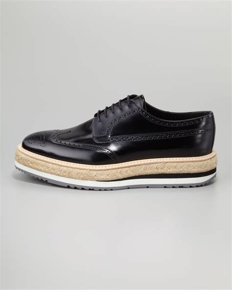 prada oxford shoes prada wingtip espadrille oxford in black for lyst