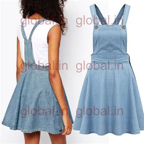 womens casual blue denim overall jumper dress skater jean
