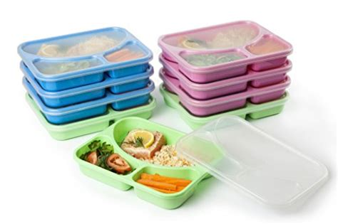 sectioned lunch container set of 9 coloured reusable easy to clean lunch kits