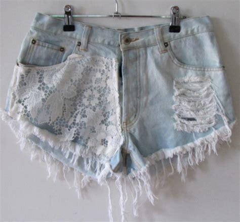 Light Blue Laces Riped Sobek Tembus Renda lace jean shorts memes