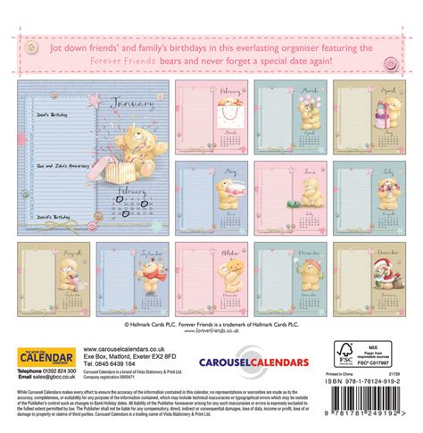 forever calendar template forever friends birthday calendar 2017 wall calendars
