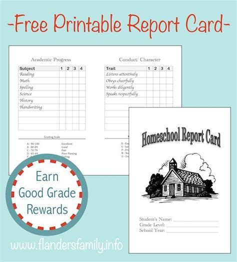 printable report card template home school report cards free printable the flanders