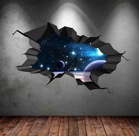 crack in bedroom wall 3d space wall decal cracked hole space galaxy stars full