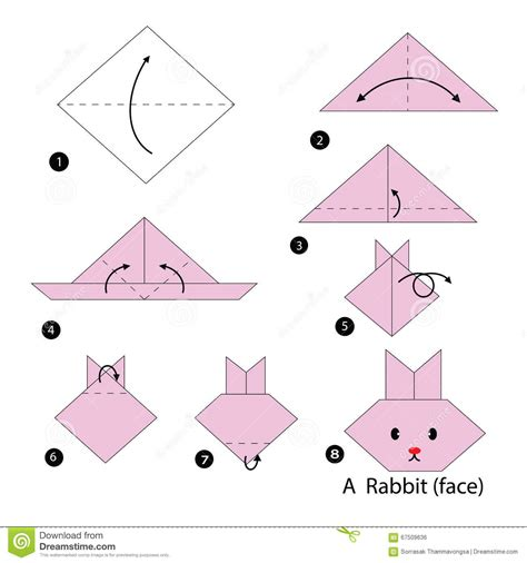 How To Make A Origami Bunny - step by step how to make origami a rabbit