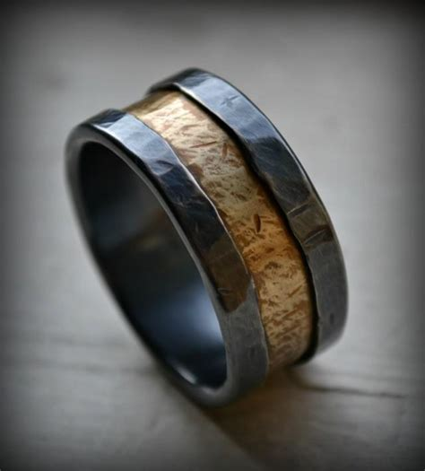 Handmade Mens Wedding Band - mens wedding band rustic silver and brass ring