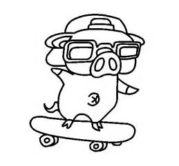 Graffiti the pig on a skateboard coloring page coloringcrew com