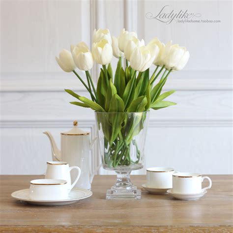 artificial flower for home decor tulip artificial flower latex real touch bridal wedding