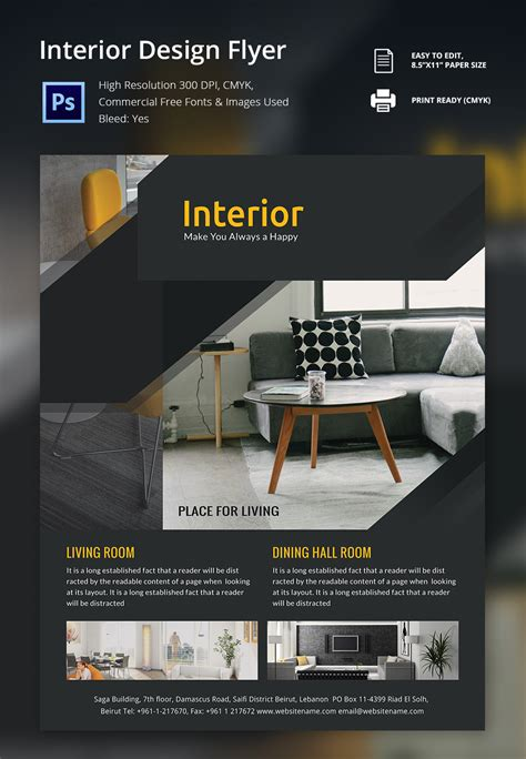 design flyer template interior design brochure 25 free psd eps indesign