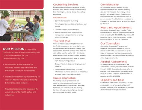 counseling brochure template counseling services brochure of wisconsin