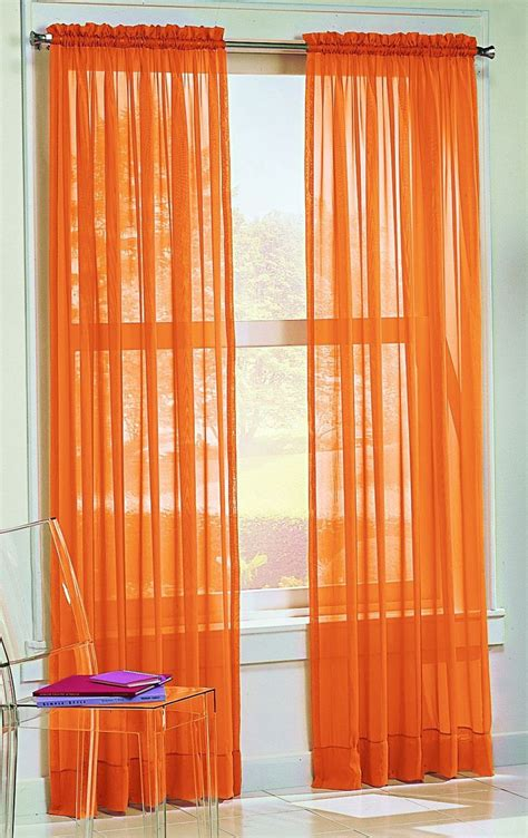 Sheer Curtains Orange Curtains Draperies Tangerine Sheer Curtains Orange Sheer Curtains Interior Designs