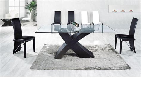 Ash Black Large Clear Glass Dining Table And 6 Chairs Clear Glass Dining Table And 6 Chairs
