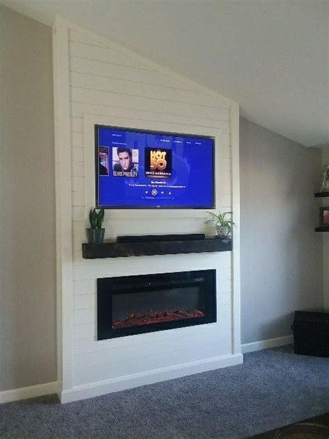 shiplap electric fireplace diy  images diy