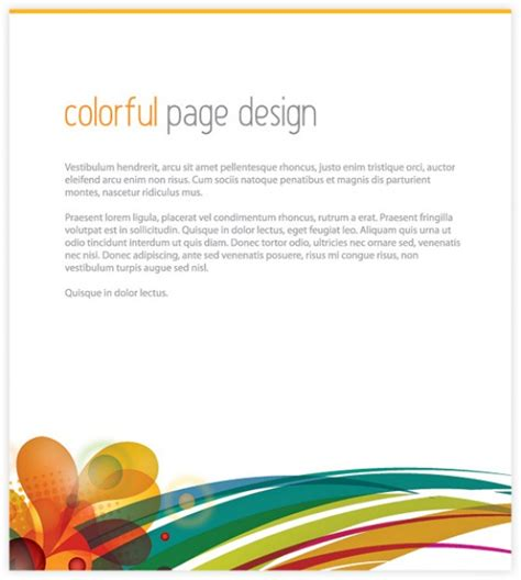 page layout design vector free download colorful page design vector free download