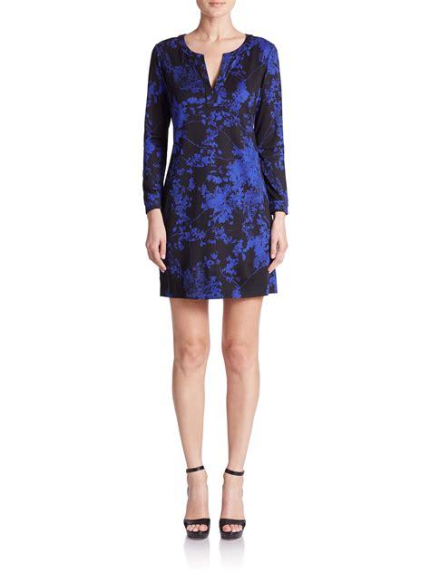 printed silk dress lyst diane furstenberg raye printed silk dress in blue
