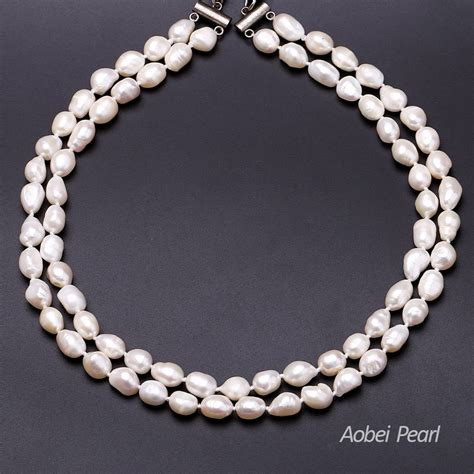 Pearl Necklace Handmade - aobei pearl handmade necklace made of freshwater pearl and