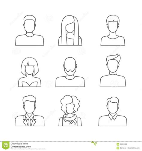 casual people faces profile avatar icons stock vector