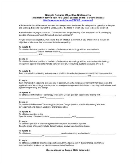 college resume objective statement 28 images college