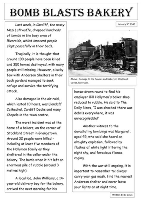 newspaper report template ks3 the blitz newspaper report exle by burton89