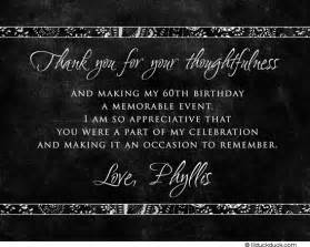 birthday thank you card message black white thank you card sophisticated 60th message