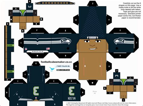 Football Papercraft - wilson seahawks cubee by etchings13 on deviantart