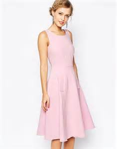 closet midi skater dress with pockets in pink lyst