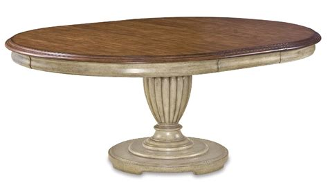 Rounded Dining Table Provenance Antique White Country Oval Pedestal Dining Table
