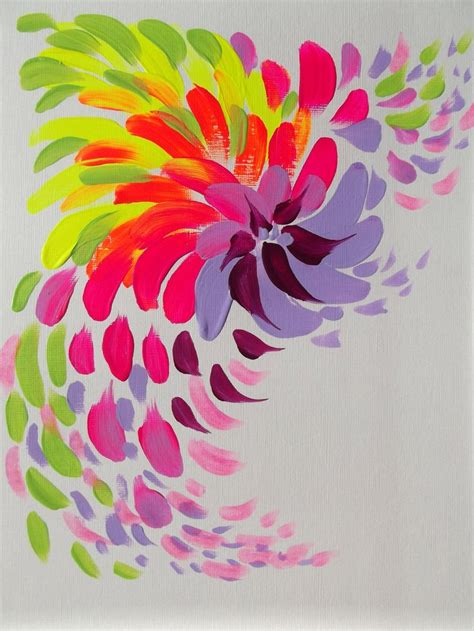 acrylic painting ideas flowers abstract pink flower original acrylic painting modern