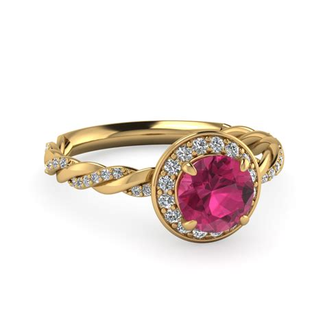 halo rope and pink sapphire engagement ring in 14k