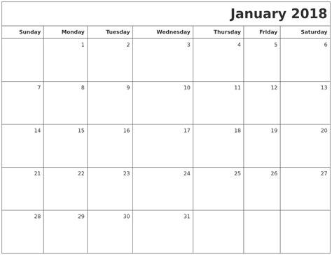 january 2018 calendar printable template january calendar 2018
