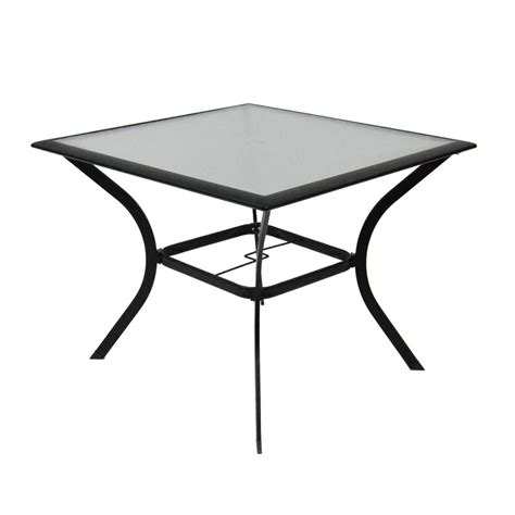 Patio Table Glass Top Shop Garden Treasures Cascade Creek Glass Top Black Square Patio Dining Table At Lowes