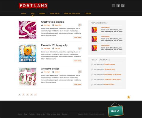 templates for blog pages portland free photoshop website template includes 3 pages