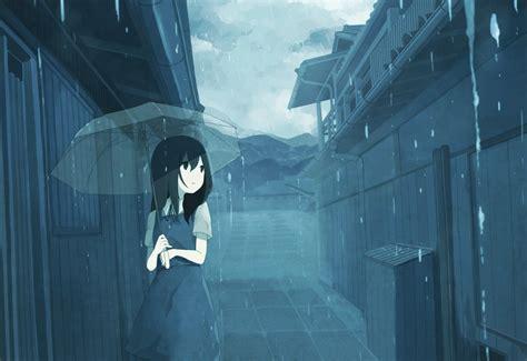 anime girl in the rain wallpaper anime girls rain umbrella city wallpaper no