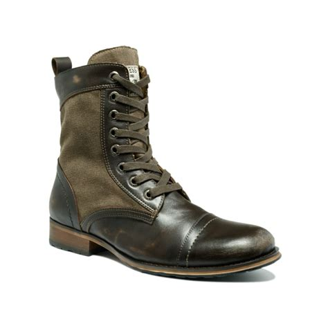 guess boots guess alfred leather and canvas boots in brown for lyst