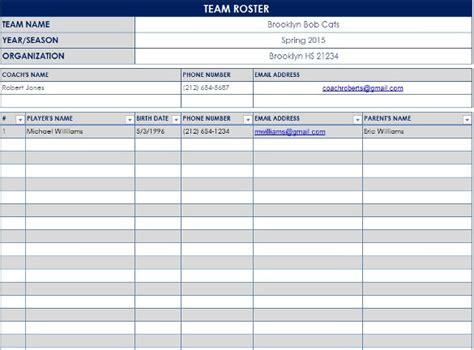 sample baseball roster template   documents