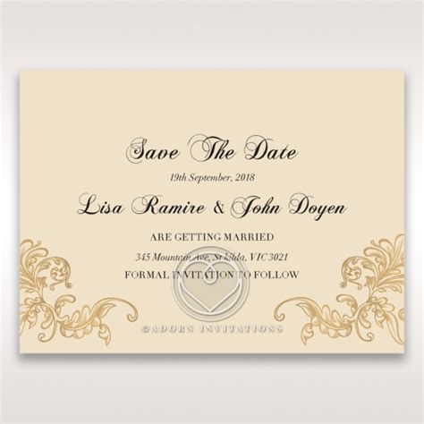 save the date wedding stationery uk golden wreath accents pale gold save the date