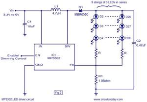 led driver based on mp3302 led driver ic working circuit diagram operates from a single lithium