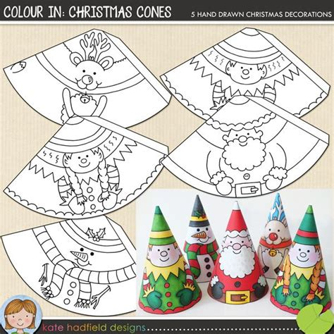 printable christmas crafts colour in christmas cones paper santa snowman reindeer