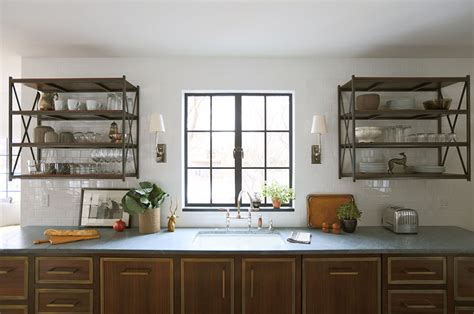 wall mounted shelving unit eclectic kitchen summer