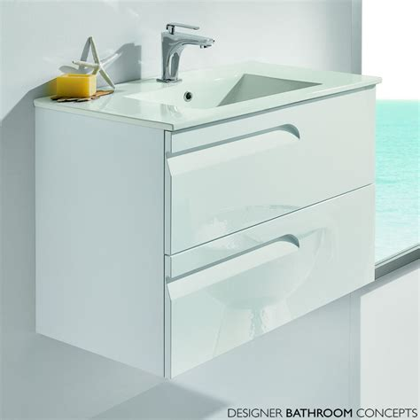 White Bathroom Vanity Unit Vitale Designer 800mm Gloss White Bathroom Vanity Unit