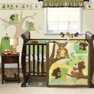 Baby Boy Crib Bedding Sets Teddy Bears Green And Brown Neutral Nursery Animal 3pc Baby Crib