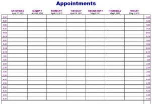 excel weekly appointment calendar template best photos of scheduling appointment slots template