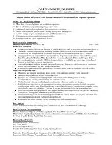 Program Specialist Resume Sle by Event Planning Resume Student Resume Template
