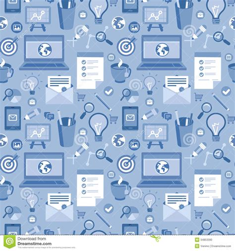 pattern of work definition vector seamless pattern with icons in flat style stock