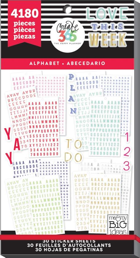 create 365 the happy planner sticker value pack alpha by me my big ideas for planners
