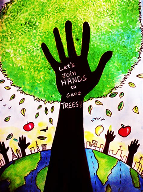 Great Green Idea Save Our Trees save tree postcard watercolor on paper painting