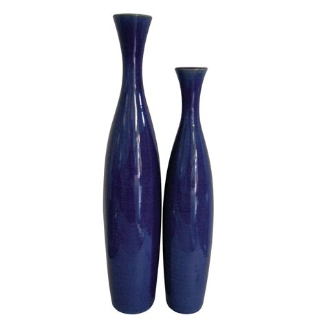 Blue Vases by Cobalt Blue Ceramic Vase Set Howard Elliott