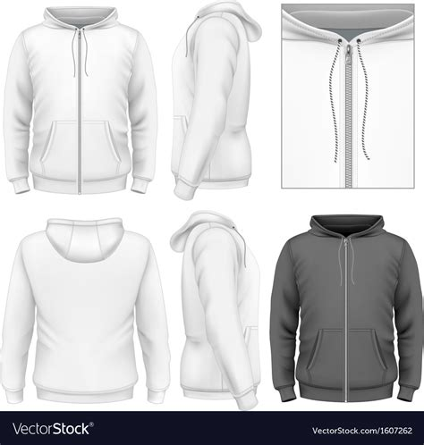 Zip Hoodie Design Template | mens zip hoodie design template royalty free vector image