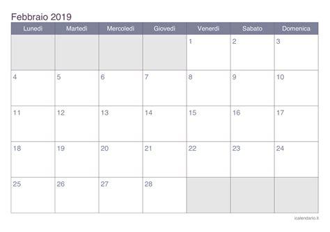 Calendario 2019 Febbraio Calendario Febbraio 2019 Da Stare Icalendario It
